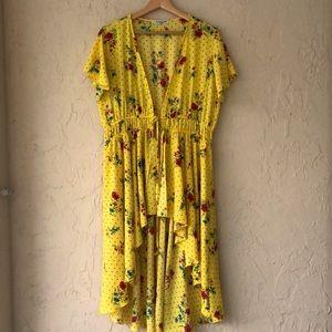 Cha cha Vente yellow kimono black red floral XL